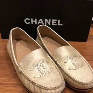 Chanel Metallic Loafers